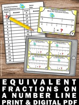 Equivalent Fractions on a Number Line Task Cards, Equivalent Fractions Game