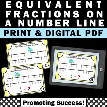 photo relating to Fractions on a Number Line Game Printable called Identical Fractions upon a Amount Line Undertaking Playing cards for 3rd Quality Math Facilities Sport