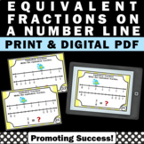 Equivalent Fractions on a Number Line Task Cards 3rd Grade Math Review Digital