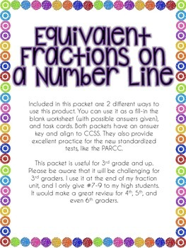 Equivalent Fractions on a Number Line Packet