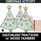 Equivalent Fractions or Mixed Number Christmas Math Craft,