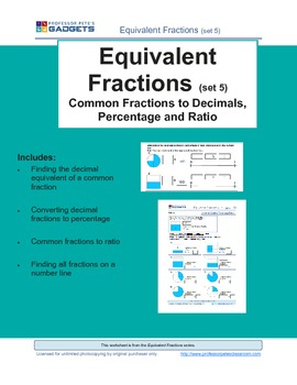 Equivalent Fractions (set 5) Common Fractions, Decimals, Percentages, Ratios