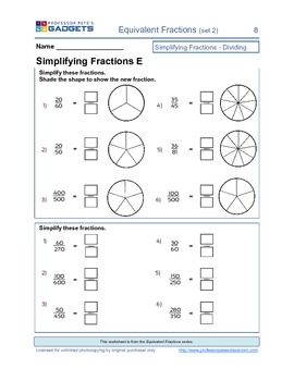 Equivalent Fractions (set 2) simplifying