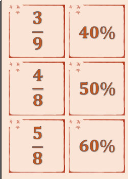 Equivalent Fractions to Percentage Match Game (interactive) Harder UPDATED