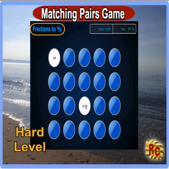 Equivalent Fractions to Percentage Match Game (interactive) Harder