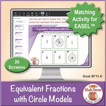 Equivalent Fractions with Circle Models: 40 Math Matching Game Cards 5F11C