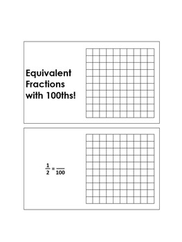 Equivalent Fractions with Hundredths: Booklet, Samples, and Blanks