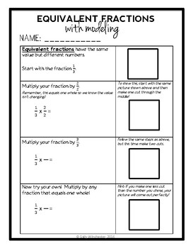 Equivalent Fractions with Modeling, Complete 7-Page Lesson Packet!