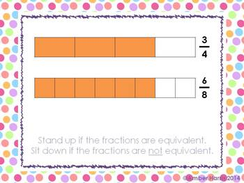 Equivalent Fractions with Models Sit Down Stand Up Active Learning Game