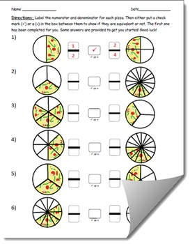 Equivalent Fractions with Pizza Worksheet (2nd Edition)