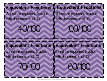 Equivalent Fractions with denominators of 10 and 100