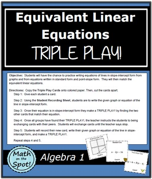Equivalent Linear Equations Triple Play!