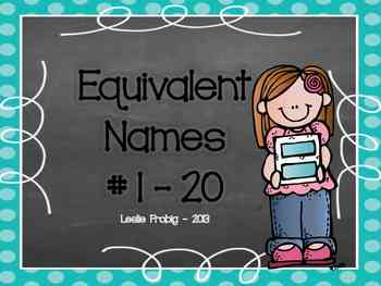 Equivalent Math Names for Numbers 1-20