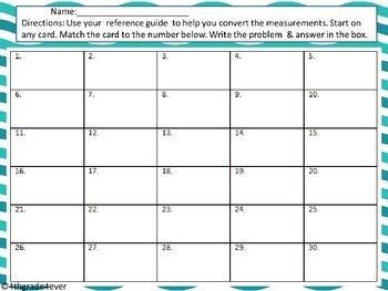 Equivalent Measurement : Math  Task Card Scavenger Hunt 4th CCSS No Prep