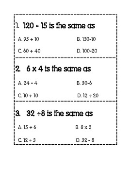 Equivalent Names For Numbers Task Cards or Scoot Test Prep