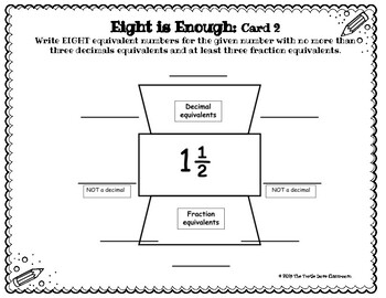 Equivalent Numbers Fractions, Decimals, Percents :  8 is enough!