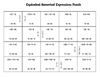 Equivalent Numerical Expressions Puzzle by BuckeyeMath | TpT