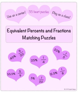 Equivalent Percents and Fractions Heart Puzzles