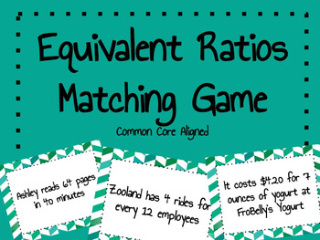 Equivalent Ratios - Matching Game