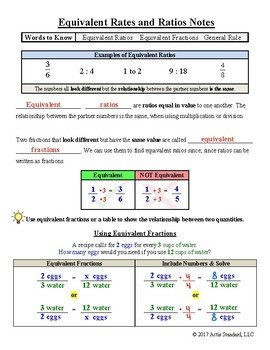 Equivalent Rates and Ratios Notes