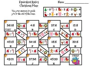 Equivalent Ratios Activity: Christmas Math Maze