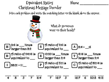 Equivalent Ratios Christmas Math Activity: Message Decoder