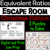 Equivalent Ratios Game: Escape Room Christmas Math Activity
