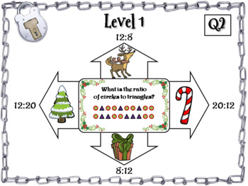 Equivalent Ratios Game: Escape Room Christmas Math Activity