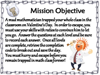 Equivalent Ratios Game: Escape Room Valentine's Day Math Activity