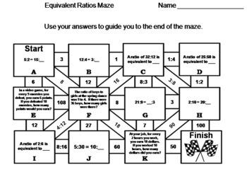 Equivalent Ratios Game: Math Maze
