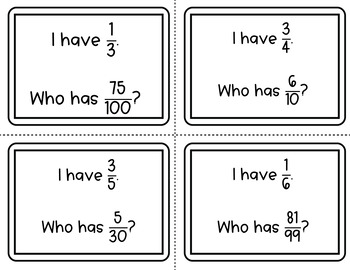 Equivalent Ratios - I Have Who Has Math Activity