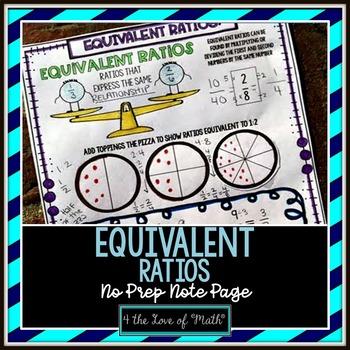 Equivalent Ratios No Prep Note Page