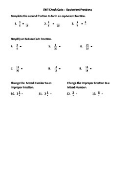 Equivalent, Simplify, Improper & Mixed #s Quiz and Retake with Answer Key