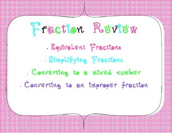 Equivalent, Simplifying, & Converting Fractions