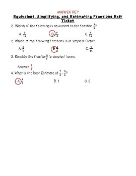 Equivalent, Simplifying, and Estimating Fraction Notes/Exit Ticket TEKS 4.3C