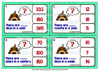 Equivalent Periods of Time:Clip Cards