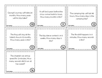 Equivalent Time Task Cards and Recording Sheet