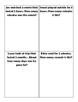 Equivalent Times Word Problems