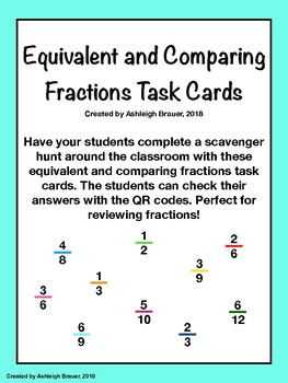 Equivalent and Comparing Fractions Task Cards