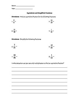 Equivalent and Simplified Fractions Quiz