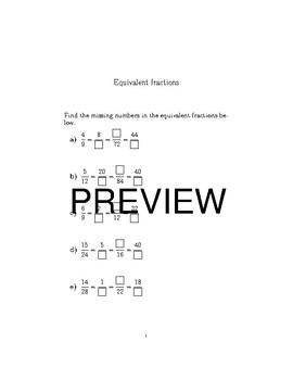Equivalent fractions-Comparing fractions bundle