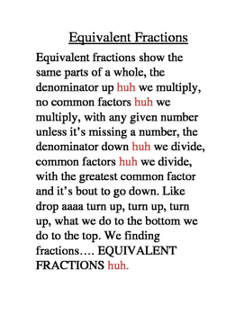 Equivalent fractions Song