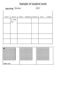 Equivalent fractions and decimals calendar pieces