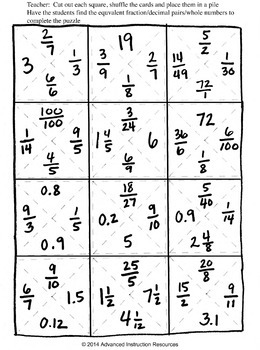 Equivalent fractions and decimals puzzle