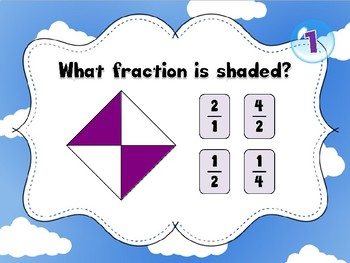 Equivalent fractions fun introduction game (1/2 and 1/3)