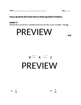 Equivalent fractions notes