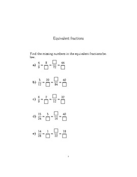 Equivalent fractions worksheet no 2 (with solutions)