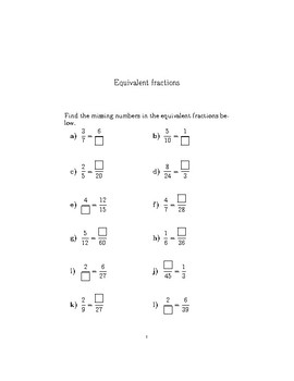 Equivalent fractions worksheet (with answers)