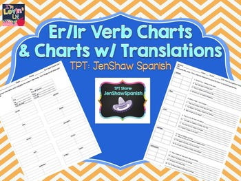 Er/ Ir Spanish Verb Conjugation Chart & Translation Activities