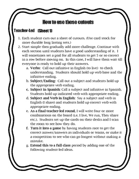Er/Ir Verb Present Tense Hands-On Practice - Cutout Activities